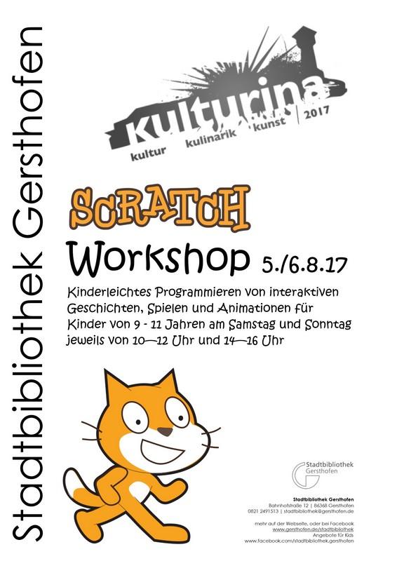 Scratch Workshop am 5./6.8.2017 jeweils von 10 - 12 Uhr und 14 - 16 Uhr.