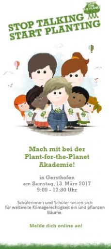 Plant-for-the-Planet Akademie am 13. Mai in Gersthofen: Kinder werden zu Botschaftern für Klimagerechtigkeit