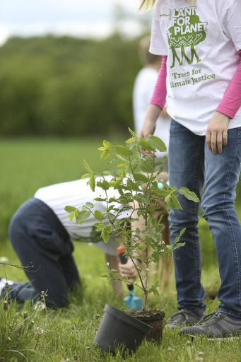 """""""STOP TALKING – START PLANTING"""" Kinder in Gersthofen pflanzen Bäume für mehr Klimagerechtigkeit"""