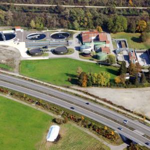 Luftaufnahme Kläranlage der Stadt Gersthofen
