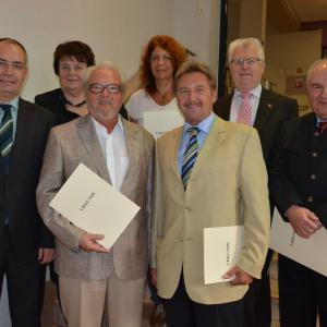 v.links: Bgm.Wörle, Rosa Mayer, Albert Heckl, Eva Rösner, Reinhold Dempf, Erwin Fath, Georg Brem