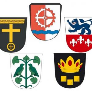 Wappen von von links unten bis links oben: Batzenhofen, Rettenbergen, Edenbergen, Gersthofen, Hirblingen